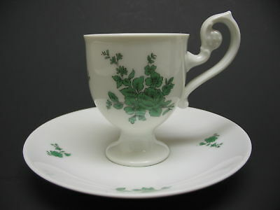 Heinrich German Green & White Porcelain Footed Demitasse Cup And Saucer ~ MINT