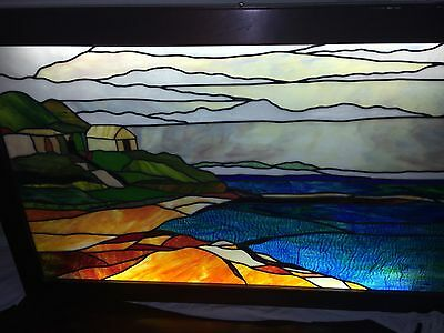 Vintage Large Lighted and Framed Stained Glass Window from Church 63x40x4