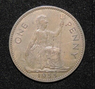 1953 Great Britain Elizabeth II One Penny Coin AU / UNC Uncirculated KEY DATE