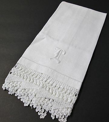 Antique Nubby Linen Towel L Monogram Ornate Hand Crocheted Trim Hemstitched