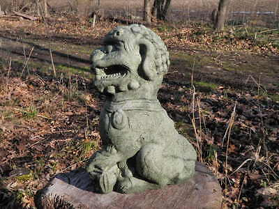 """Cement 10"""" Tall Chinese Foo Dog Garden Art Statue Green Concrete Asian Paw Up"""