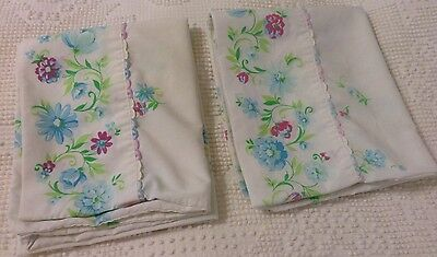Vintage White pillowcases blue Pink Green Floral Cotton Blend Cottage Chic
