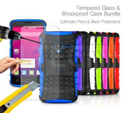For Huawei Y6 II Compact - Shockproof Builder Tough Case & Glass Protector