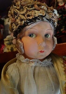 """22"""" Ethnic Doll with Lenci Face, Felt Intricate Costume in Silk, Lace, Organdy"""