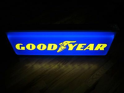 Vintage GOODYEAR Tire Lighted Display Sign Double Sided Embossed 1990's