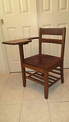 Vintage Student Solid Wood School Desk & Attached Chair
