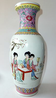 Vintage Chinese Hand Painted Famille Rose Vase 31cm