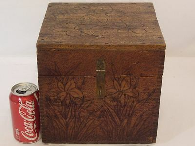 ANTIQUE PYROGRAPHY DOVETAILED WOOD BURNED BOX LARGE HAND MADE Vintage FOLK ART
