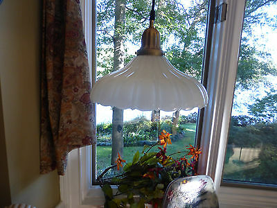 Vintage Antique Hanging Pendant Sheffield Style Milk Glass Shade Light