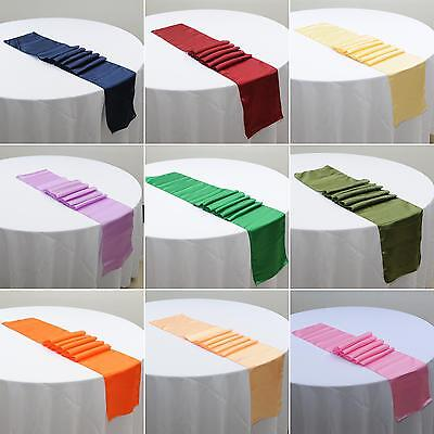 21Colors 12''x108'' Satin Table Runner Wedding Venue Decorations Party Finest