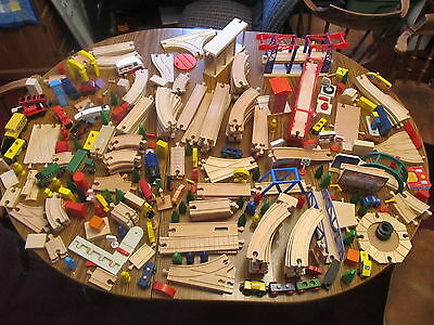 Lot of over 325 Wooden Wood Track Trains & scenery BRIO Thomas Disney more