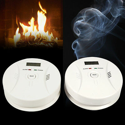 CO Carbon Monoxide Detector Smoke Fire Alarm Sensor Battery Operated School Bank