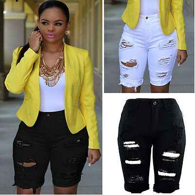 Women Denim Shorts Mid Waist Tassel Hole Short Jeans Midi Pants Bottoms Jeans
