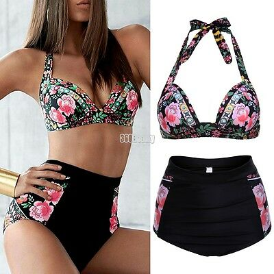 Swimwear Fashion Women Floral High-waisted Bikini Set Push-Up Swimsuit Bathing