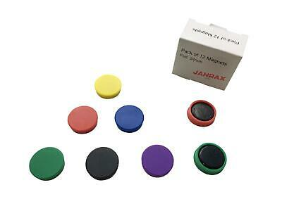 Pack of 12 Coloured Round 24mm Magnets - Whiteboard Fridge Metal Colours