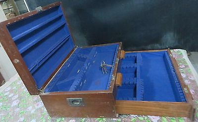 Silver Cutlary Wood Box Labled Army & Navy store Hidden chest lock Velvet 1930