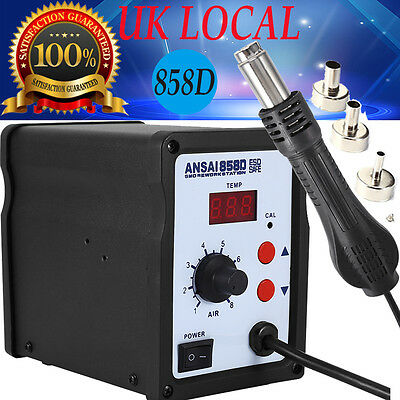 Air Rework Soldering Station LED Display with 3 Nozzles 220V 858D Equipment UK