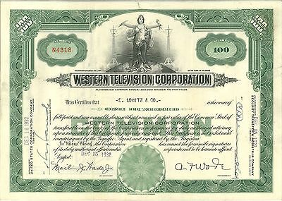 Western Television stock certificate