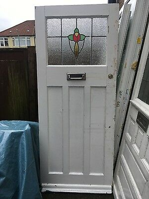 Antique 1930s period door with stained glass