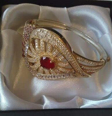 Sterling 925 Silver White Topaz,ruby Accented Lady Bangle // Handcraft Jewelry