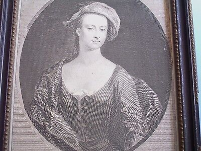 "Fine Georgian Small Portrait Print ""mary Bellenden"" Hogarth Frame Date 1798"