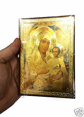 """Blessed Mary Baby Jesus Russian Icon Plaque Blessed Jerusalem Souvenir 5.7"""""""
