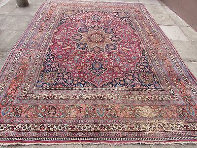 Antique Shabby Chic Old Hand Made Persian Rug Oreintal Wool Red Carpet 354x261cm