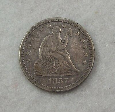 1857 Liberty Seated  Quarter VERY FINE Silver 25c