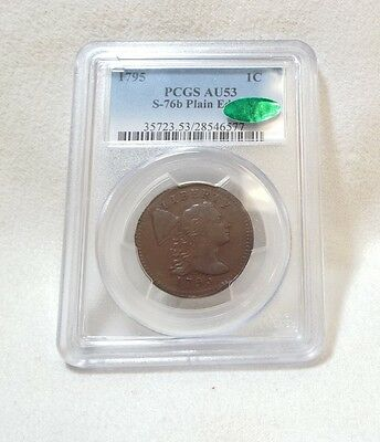 1795 Liberty Cap Plain Edge Large Cent CERTIFIED CAC & PCGS AU 53 S-76b