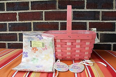 NWT Longaberger 2014 Pink Easter Basket w/ protector, tie-ons, &  fabric square