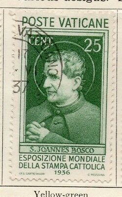 Vatican City Italy 1936 Early Issue Fine Used 25c. 149222