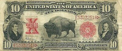 1901 $10 Red Seal Legal Tender ~ Bison Or Buffalo Note ~ Nice Solid Problem Free