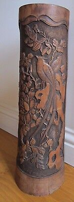 Superb Signed Antique Tall Large 18inch Chinese Scholar Carved Bamboo Brush Pot
