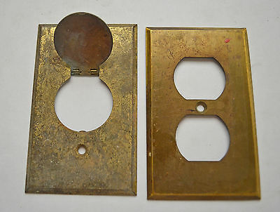2 Antique Vintage Brass Outlet Covers Single with Cover Hardware Salvage