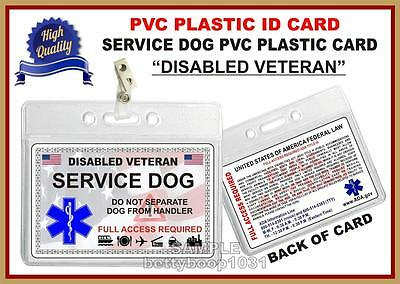 """SERVICE DOG ID CARD  """"Disabled US Military Veteran"""" Plastic Card - Not a patch"""