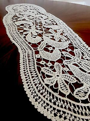 hand made In Romania crochet lace table cloth cover runner new and authentic