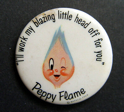 Original Nipsco 1960 Peppy Flame Advertising Figural Gas Company Pinback Button
