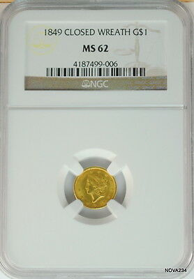1849 $1 Closed Wreath Liberty Head Gold Dollar Ngc Ms-62