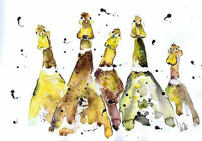 Yellow Ducks Painting Original Watercolour A3 Sized  By Moon Hares Art