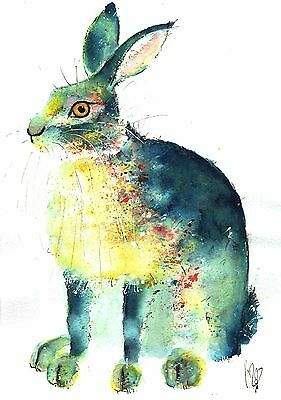 Original Animal Wildlife Artwork Watercolour Painting By  Moon Hares Art