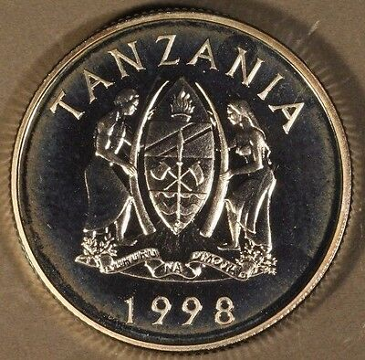 1998 Tanzania 250 Shillings Wildlife Silver Proof Coin ** FREE U.S SHIPPING **