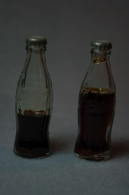 Two vintage novelty Coca Cola bottles - 2 1/2 inches tall!