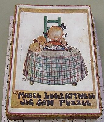 1920's A.V.N.Jones Mabel Lucie Attwell wooden  jigsaw puzzle