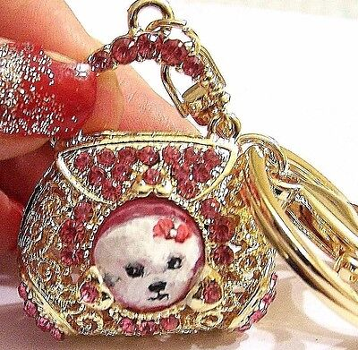 Bichon Frise hand painted purse crystal key chain handbag charm gift