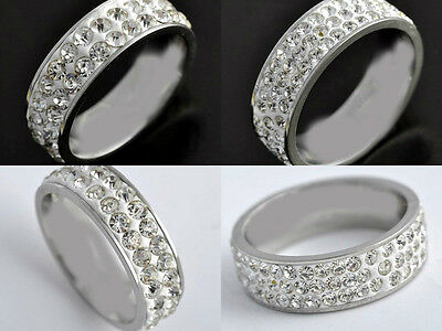 50Pcs Quality Silver Stainless Steel Rings Cz Wholesale Lots