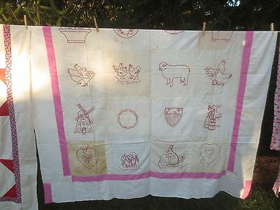"QUILT TOP - Antique RED WORK EMBROIDERED Cotton  w/Pink Border - 69"" x 82"""