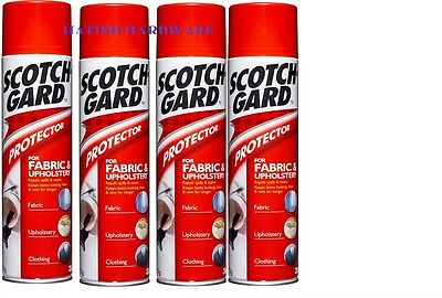 4 x 3M SCOTCHGARD FABRIC AND UPHOLSTERY PROTECTOR 350g REPELS SPILLS& STAINS
