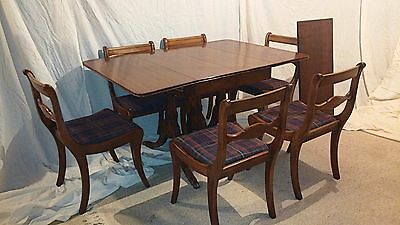 Antique Vintage Duncan Phyfe Style Drop Leaf Table with 6 Chairs and 16 In. Leaf