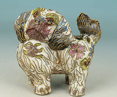 Lovely chinese Collect Cloisonne Dog Statue Figure Decoration