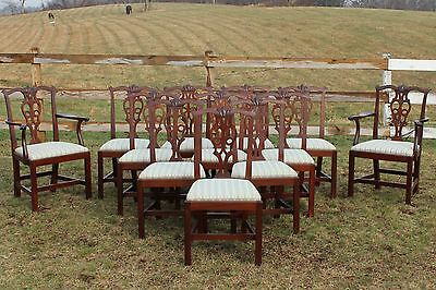 Set of 12 Chippendale-style Mahogany Dining Room Chairs